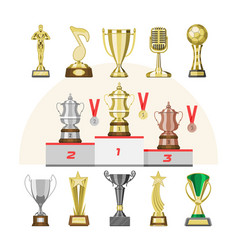 award trophy winners prize trophycup or vector image