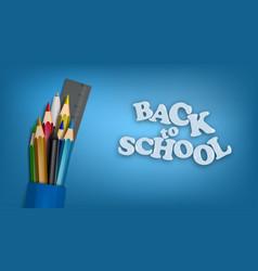 Back to school template school supplies pencils vector