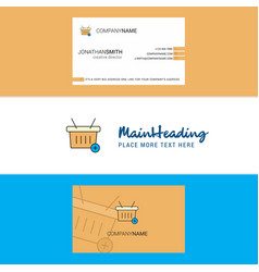 beautiful basket logo and business card vertical vector image