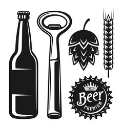 Beer elements and objects in monochrome style vector