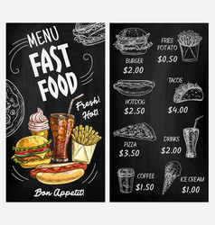 blackboard menu with chalk sketches fast food vector image