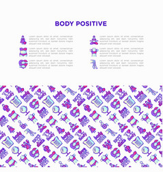 Body positive concept with thin line icons woman vector