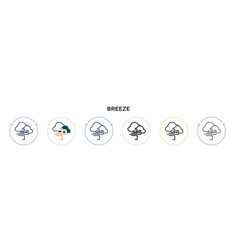 Breeze icon in filled thin line outline vector