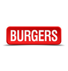 Burgers red three-dimensional square button vector
