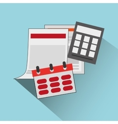 Calendar with calculator office related items icon vector