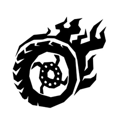 Car and motorcycle fire wheel with flame vector image