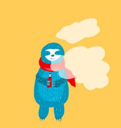 cartoon cute blue sloth in vector image