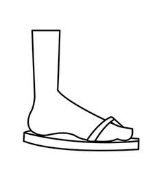 Cartoon feet sandal vacation style outline vector
