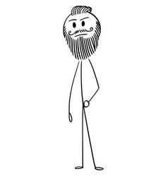 cartoon of hipster man with full beard and vector image