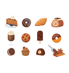 Chocolate sweet dessert icons organic food vector
