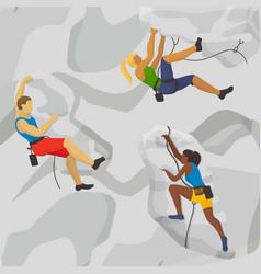 climbing rocks sport extreme vector image