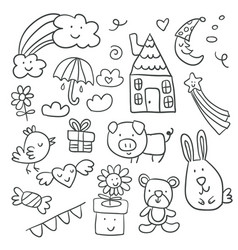 Collection of cute childrens drawings of kids vector