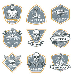 colored tattoo studio labels set vector image