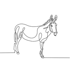 Continuous one line drawing of donkey in modern vector