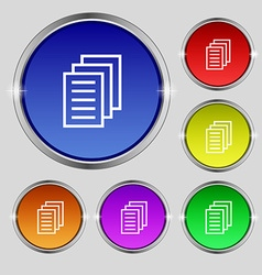 Copy file Duplicate document icon sign Round vector