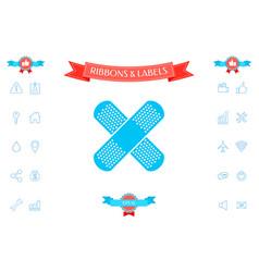 cross adhesive bandage medical plaster icon vector image