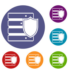 database with shield icons set vector image