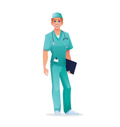 Doctor surgeon with folder in short-sleeved scrub vector