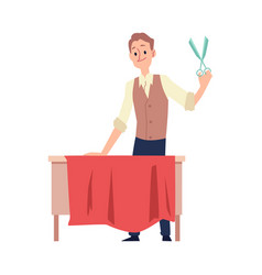 Dressmaker or tailor man cuts fabric for clothing vector