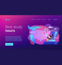 Educational tourism concept landing page vector