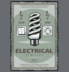 Electrical service vintage poster with light bulb vector