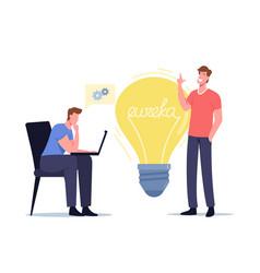 Eureka concept businessmen colleagues characters vector