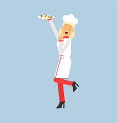 female chef cook character in uniform holding vector image