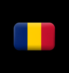 flag of romania matted icon and button vector image