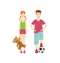 flat boy and girl character set isolated vector image