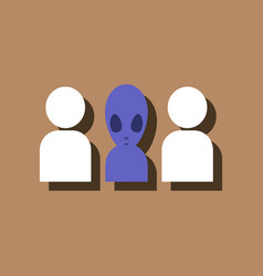 Flat icon design collection aliens silhouettes in vector