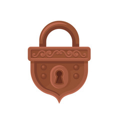 Flat icon of hanging mechanical lock brown vector