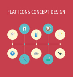 Flat icons radiology enamel halitosis and other vector
