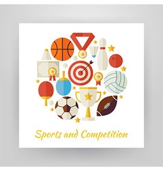 Flat Style Circle Set of Sport Recreation and vector image