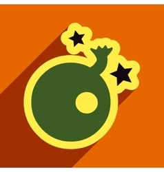 Flat with shadow Icon Bomb and stars on colored vector