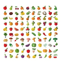 Food Fruit and vegetables Set of colored icons vector image