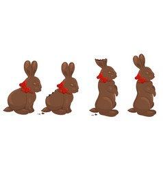 four chocolate rabbits isolated on a white vector image