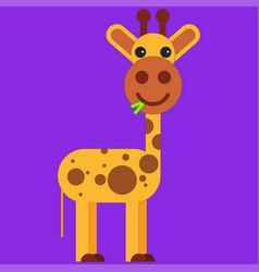 giraffe in cartoon flat style vector image