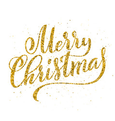 gold merry christmas party handwritten lettering vector image