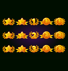 golden rewards icons set 1st 2nd 3rd place vector image