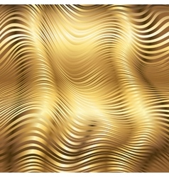 Golden striped waves abstract background vector image