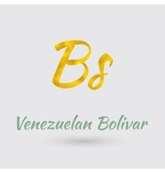 Golden Symbol Venezuelan Bolivar vector image