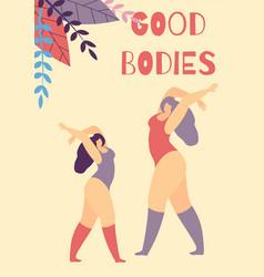 Good bodies inscription woman motivate vector