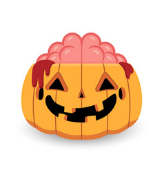 Halloween pumpkin zombie vector