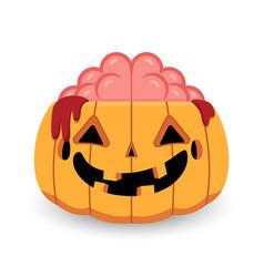 Halloween pumpkin zombie vector