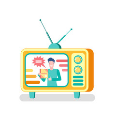 Host on show advertising product on tv mass media vector