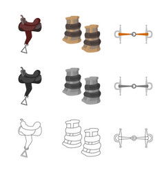 isolated object of equipment and riding icon vector image
