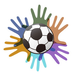 isolated soccer ball on color hands vector image