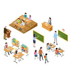 Isometric school children and teacher in vector