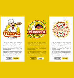 italian pizzeria promotional vertical posters set vector image