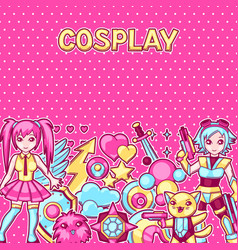 Japanese anime cosplay background cute kawaii vector